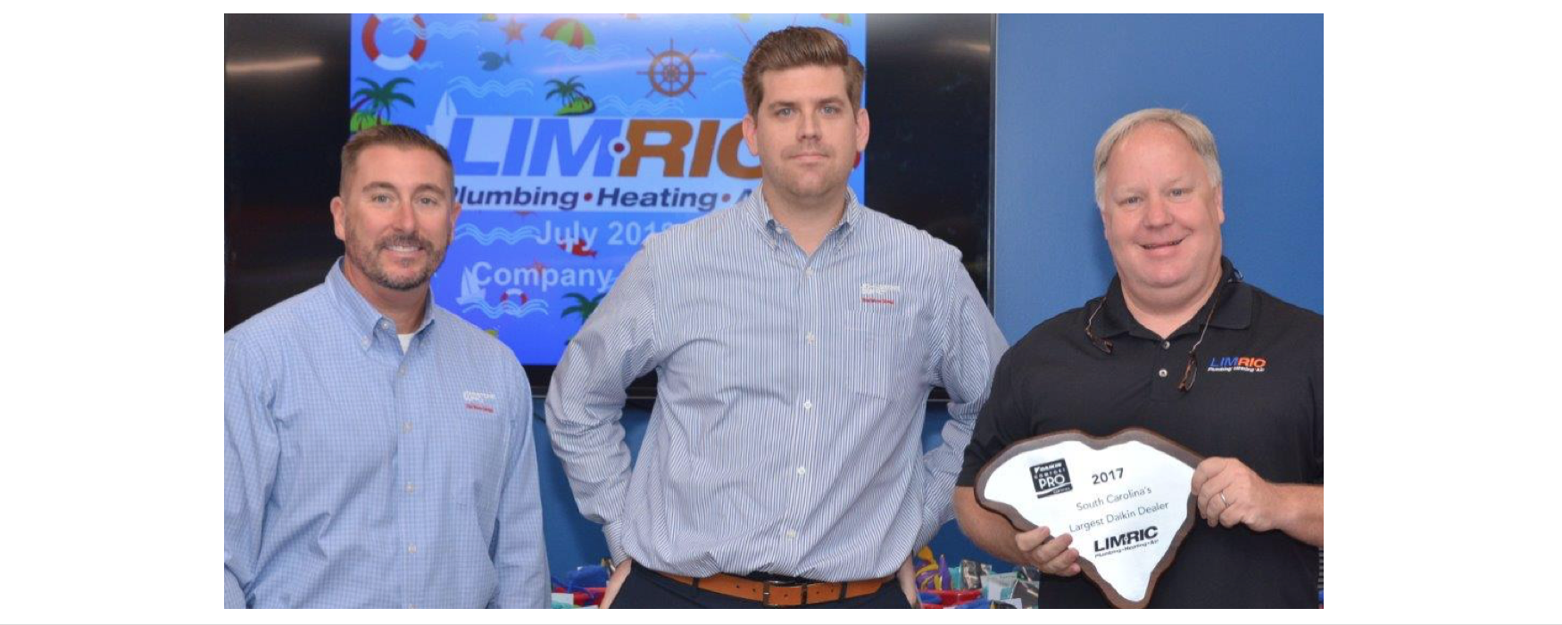 LimRic Plumbing, Heating & Air Recognized for Being Daikin's Largest 2017 South Carolina Dealer