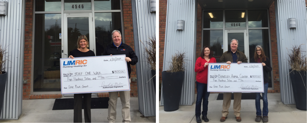 LimRic Plumbing, Heating & Air Supports Berkeley Animal Center and JDRF One Walk  with January Give Back Grant